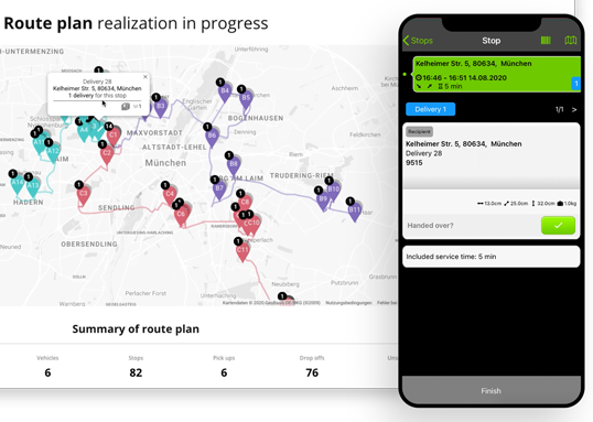 Route plan mobile preview